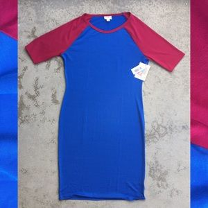 Lularoe Julia Red/Blue Color Blocked Dress NWT